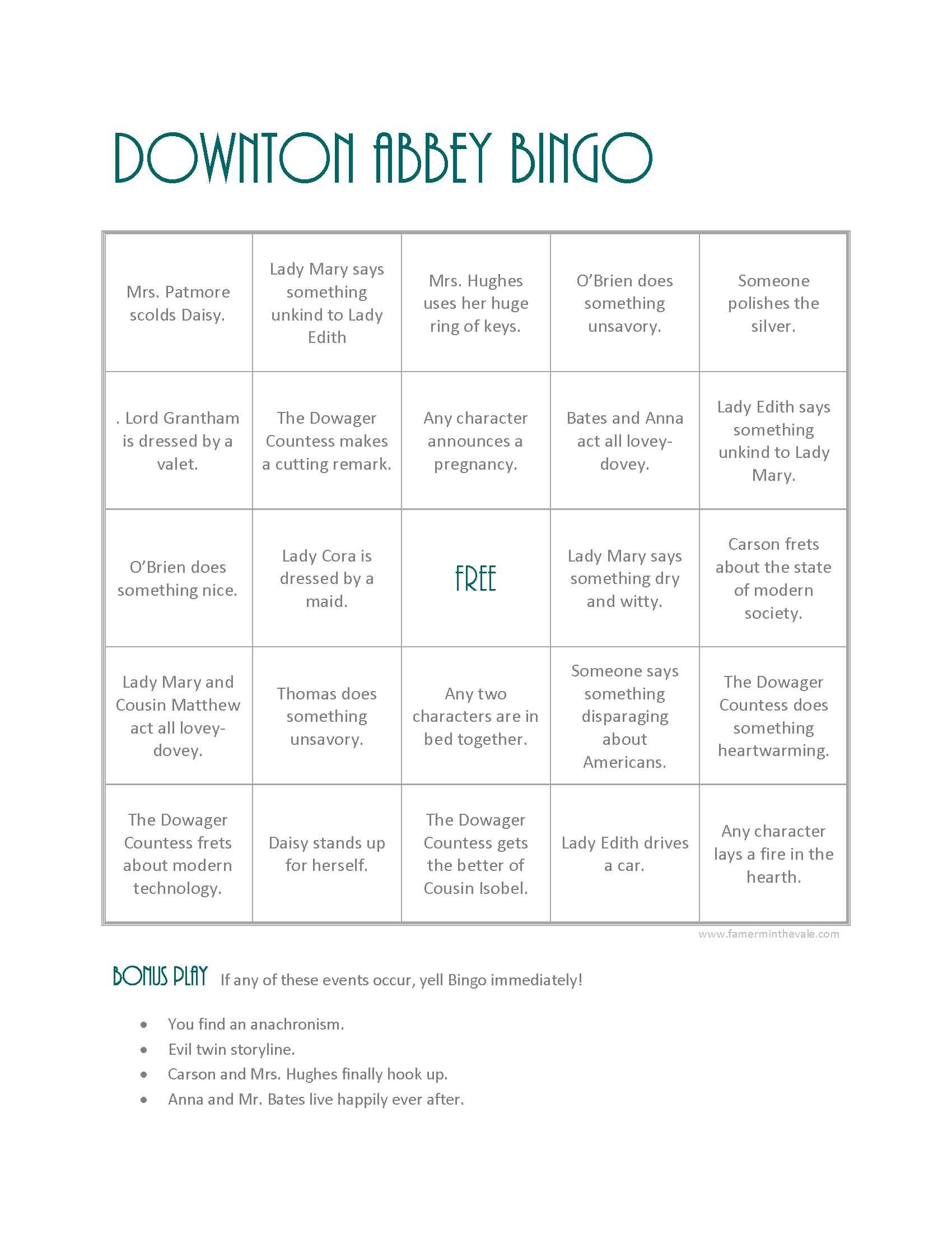 Downton Bingo from farmerinthevale